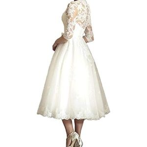 ffc4c5a4a83 Abaowedding Dresses - 6 ABAOWEDDING ivory VNeck Tea Length Wedding Dress